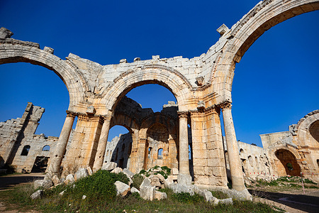 The main arches of the nave with destroyed columns. The archaeological Monastery of Simeon (Simon's Church), the oldest church in Syria and World Heritage Site was bombed by Russian warplanes and led to the destruction of the main pillar of the monastery, which dates back thousands of years.