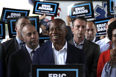 New York City mayoral candidate Eric Adams speaks to the press in support of Emergency Medical Services (EMS) personnel in front of  the EMS Center on the East Side of Manhattan. Adams and other speakers who support his candidacy cited the inequity in pay the EMS workers receive given their responsibility and in contrast to other city workers.
