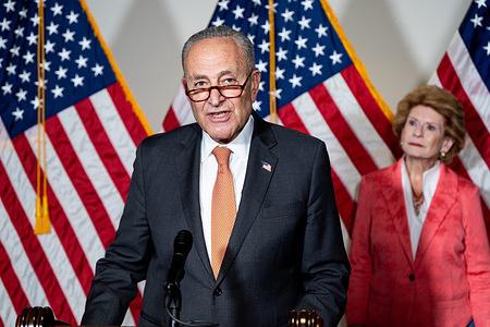 Senate Majority Leader Chuck Schumer (D-NY) speaks at a press conference of the Democratic Senate leadership.