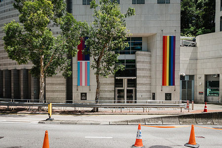 British Consulate-General Hong Kong, raises a rainbow flag, a transgender flag and a bisexual flag to celebrate LGBT rights in pride month.