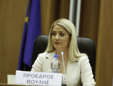 The new president of the Cyprus Parliament Annita Demetriou seen in the Parliament of Cyprus in Nicosia.The Cypriot parliament has elected, for the first time a female President.