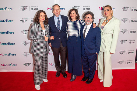 (L-R) Tina Fey, Robert Carlock, Meredith Scardino, Jeff Richmond and Busy Philipps attend the 2021 Tribeca Festival Tribeca TV Panel: Tina Fey & Co. at Spring Studios.