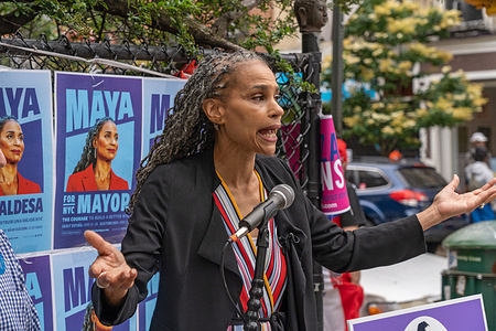 NYC mayoral candidate Maya Wiley speaks at a press conference outside a polling location at Campos Plaza Community Center in New York City.  Mayoral candidate Maya Wiley speaks about housing as a human right.  Ms. Wiley vows to make sure that rent is affordable and to fix our shelter system so all New Yorkers can live with dignity.