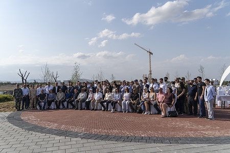 Group photograph of delegates during the event. A tour of the newly recovered Azerbaijani territory of Agdam was hosted by the Azerbaijani Government. This is the second international delegation to visit the region, seeing a presentation about how the Azeri government plans to reconstruct and repopulate the area. The event was attended by international press, politicians, diplomats and military attaches from various countries.