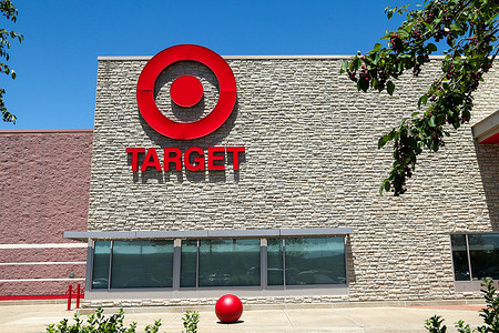 The bullseye logo is seen on the outside of a Target store at Monroe Marketplace.