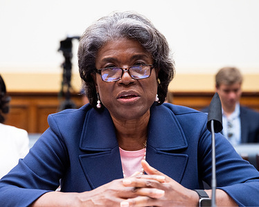 Linda Thomas-Greenfield, United States Ambassador to the United Nations, speaking at a House Foreign Affairs Committee hearing at the U.S. Capitol.