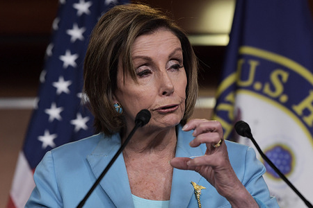US House Speaker Nancy Pelosi (D-CA) speaks about the Supreme Court ruling to uphold the Health Care Law during her weekly press conference, at HVC / Capitol Hill in Washington.