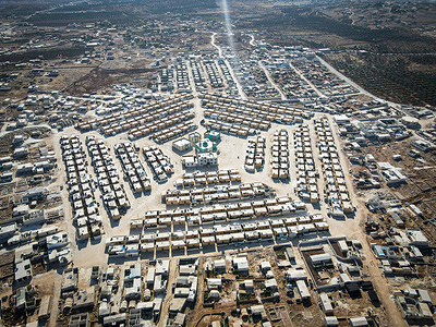 (EDITOR'S NOTE: Image taken with a drone) Aerial view of a camp Northwest of Syria with four million displaced people after the Assad regime launched military operations and indiscriminate bombardment on their cities.