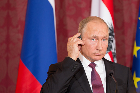 The Russian President Vladimir Putin gives a Press Statement in the Hofburg Palace during his official visit in Vienna.