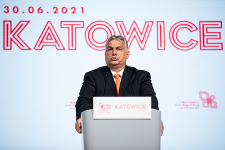 Viktor Orban, Prime Minister of Hungary seen during the meeting of The Visegrad Group in Katowice.