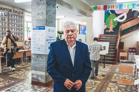 Vladimir Voronin, member of Communist Party of the Republic of Moldova seen at a polling station during the parliamentary elections.
