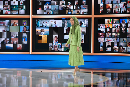 Maryam Rajavi, President-elect of National Council of Resistance of Iran (NCRI), joins thousands of members of the principle Iranian opposition movement, the Mujahedin-e Khalq (MEK), during the Free Iran World Summit 2021 at Ashraf 3.  1,029 lawmakers, including 31 US Senators and House members, dignitaries, current and former senior officials, and Iranians from 50,000 locations in 105 countries called for a Free Iran.