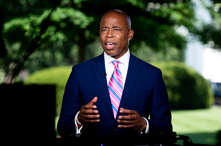 Brooklyn Borough President, Eric Adams seen during a television interview at the White House.