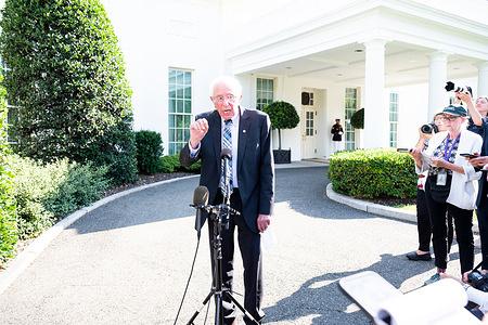 U.S. Senator Bernie Sanders (I-VT) speaks to reporters at the White House.