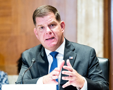 U.S. Secretary of Labour, Marty Walsh speaking at a hearing of the Senate Appropriations Committee's Subcommittee on Labour, Health and Human Services, Education and Related Agencies at the U.S. Capitol.