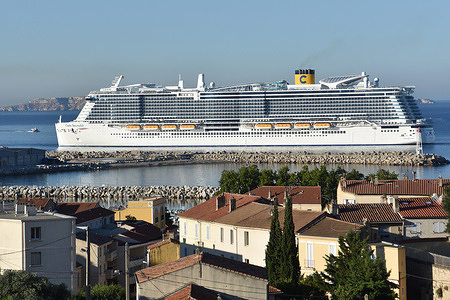 """A view of the cruise ship """"Costa Smeralda"""" arriving in Marseille. The Italian liner """"Costa Smeralda"""" cruise ship arrives in the French Mediterranean port of Marseille."""