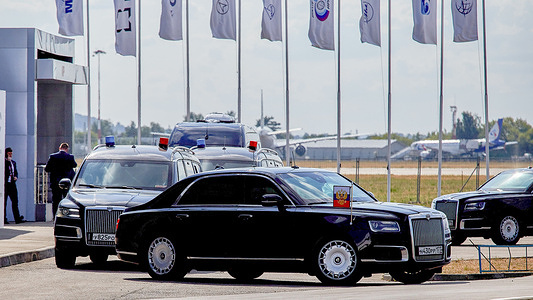 Motorcade of the Russian President Vladimir Putin departing, during the XV International Aviation and Space Salon MAKS-2021 that was opened by the President of the Russian Federation, Vladimir Putin. MAKS (International Air and Space Salon) is a biennial international air show held at Zhukovsky International Airport and is a traditional marketplace for Russian defence and commercial aerospace industry.