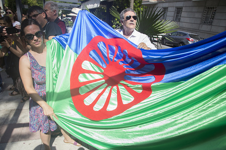 Gypsies show the gypsy flag during the protest. The Roma people protest in front of the Italian Embassy in Madrid to ask for the resignation of Salvini for his gypsy phobia. The ambassador of Italy has met with representatives of the group and has committed to transfer his concerns and proposals.