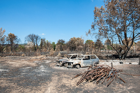 Destroyed vehicles seen at a nurseryman whose material and culture of olive trees have totally burned, during the aftermath.The fire that started on August 17, 2021 in the Plaine des Maures (Var) burned more than 7,100 hectares of forest. Two people were found dead. The damage to economic activities is still being assessed.
