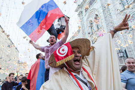 Russian fans seen having fun while celebrating the victory over Spain. The FIFA World Cup 2018 is the 21st FIFA World Cup which starts on 14 June and ends on 15 July 2018 in Russia.