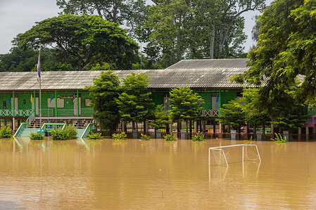 View of a flooded Wat Bot School after heavy rainfall in Bang Ban District. Phra Nakhon Si Ayutthaya is the downstream province which get direct effect from heavy rainfall in northern part of Thailand. the water level in rivers and canals are dramatically rising and even flood in some areas.