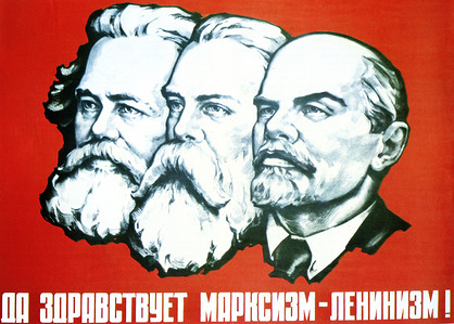 """Vintage soviet poster, published in Moscow, 1970s. Poster with text """"Long live Marxism-Leninism"""" shows Karl Marx, Friedrich Engels and Vladimir Lenin"""