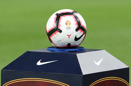 The match ball of the  Olimp Super Cup of Russia being displayed before the match. CSKA moscow won the Olimp Super Cup of Russia with a 1-0 victory over Lokomotive at Nizhny Novgorod Stadium.