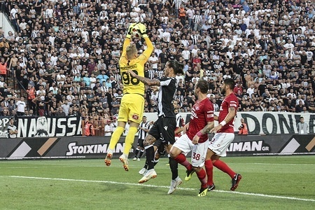 Aleksandr MAsimenko seen holding the ball after an attack from PAOK. PAOK vs Spartak Moscow for Champions League third qualifying round. PAOK defeated Spartak from Moscow in Toumba Stadium in Thessaloniki, Greece with score 3-2.