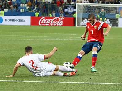 Ayaz Guliev and Milan Gaiic seen in action during the game. 2019 UEFA European Under-21 Championship. Russia vs Serbia. Group 7. The Russian team lost to Serbia team 3-2.