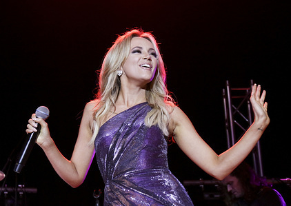 Samantha Jade seen performing at the Revesby Workers Club as she celebrates the release of her third studio album titled 'Best Of My Love' in Sydney.