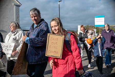 A group of protesters are seen during an impromtu march to the Tullibody Healthy Living center, located at Tron Court, which was also shut down.  Residents of Tullibody staged a protest against the decision by Clackmannanshire Council to shut the center, despite 13 months negotiations and talk to find a solution to keep it open. The council also shut the Tullibody Healthy Living which done a lot for the local community in the way of free fruit and veg amongst other things.